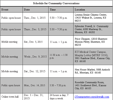 Schedule for Community Conversations